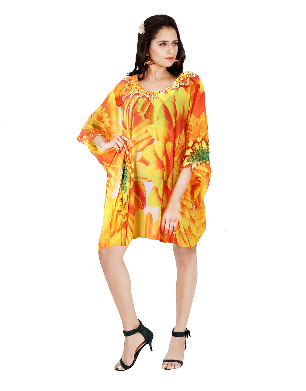 Floral Beauty in an Abstract Patterned short Silk Kaftan glorified with Sunflower Print Silk caftan tunic - Silk kaftan