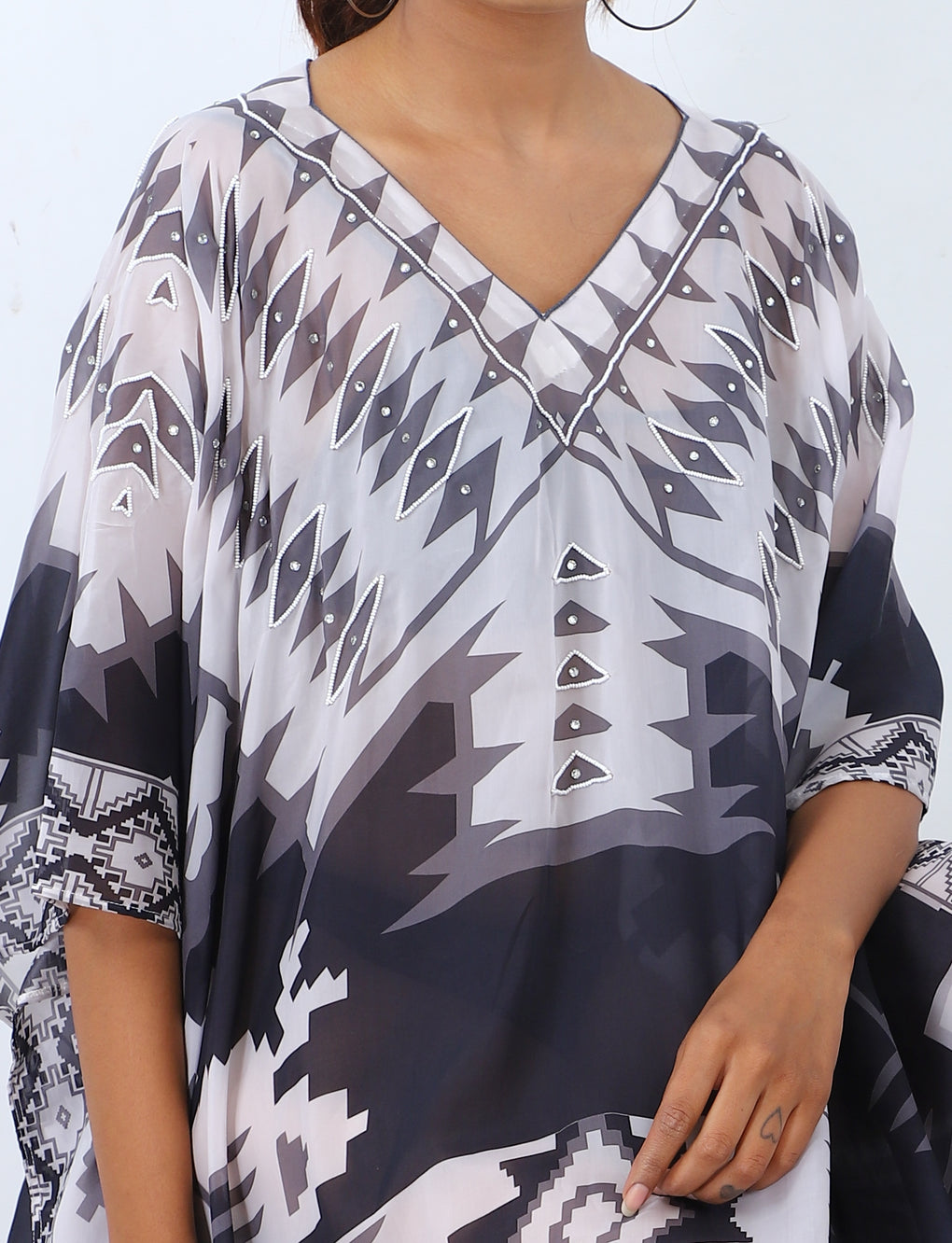 black and white kaftan dress