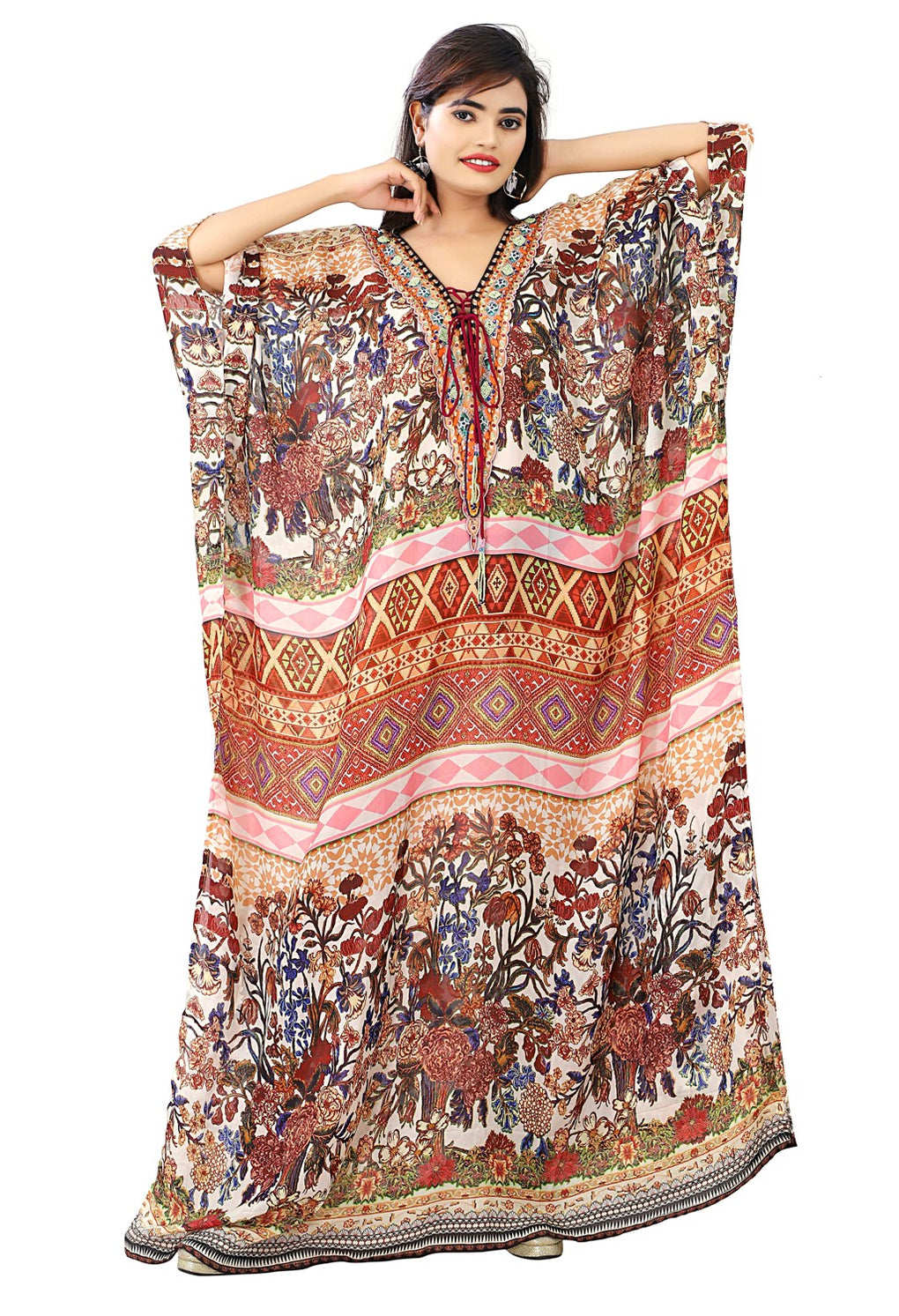 Lace Up Innovative Floral Kaftans with embellishment of strings and traditional handwork - Silk kaftan