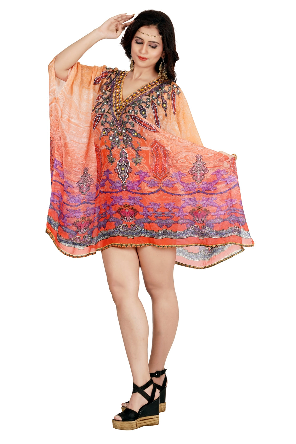 Light weight silk kaftans tunic beautiful caftan elegant kaftan luxury silk kaftans silk beach cover up - Silk kaftan