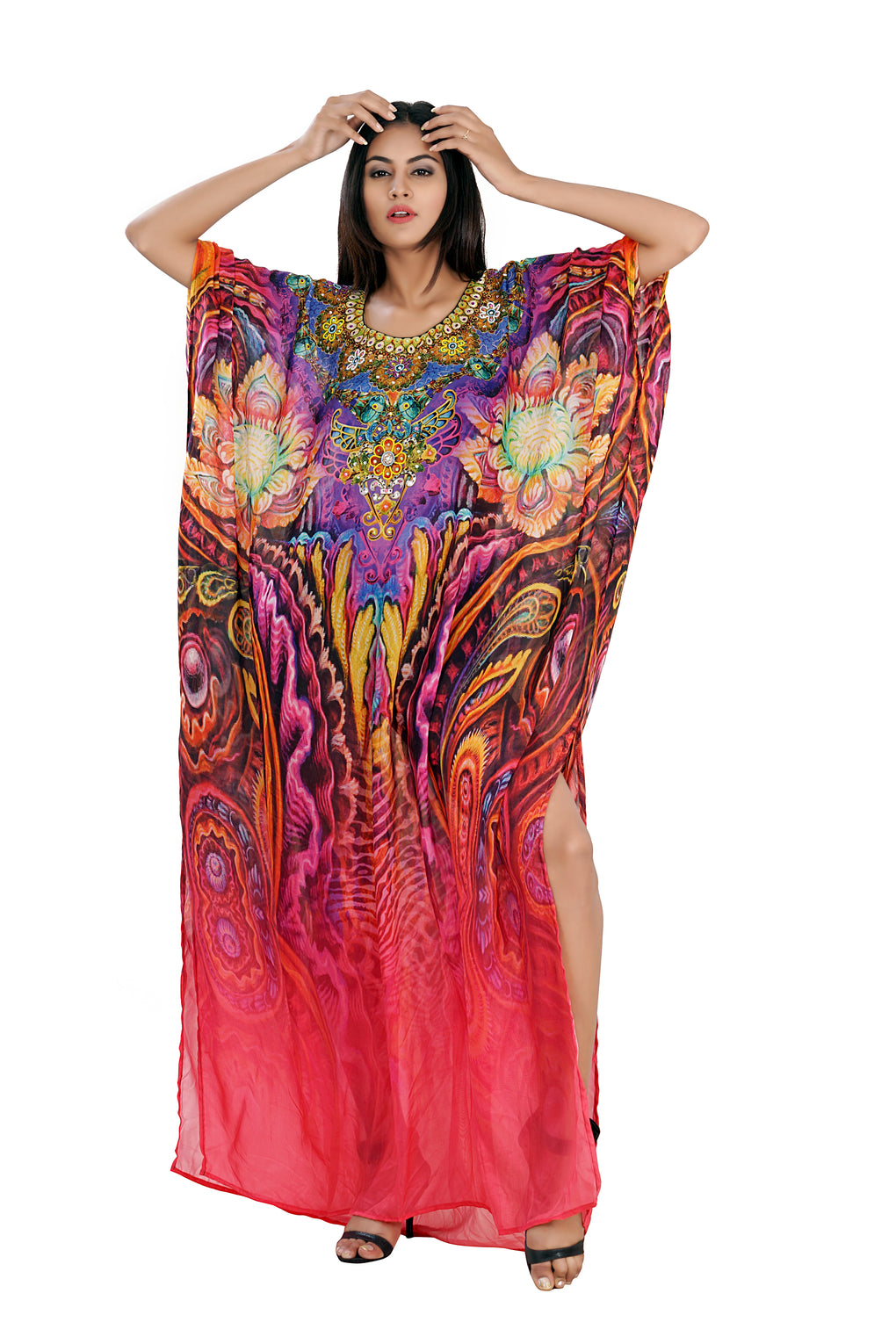 Silk resort wear Classic Feather Print on Resort wear Kaftan evening beach coverup to swathe on party time - Silk kaftan