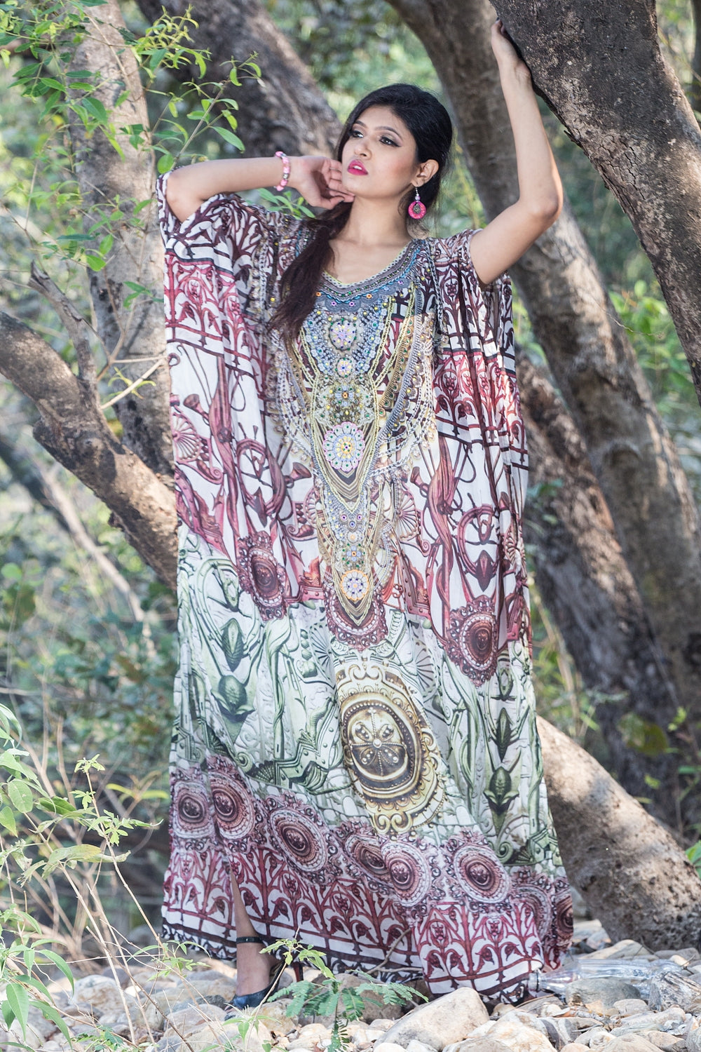 Hook up with Abstract Tribal patterned Long Silk Kaftan and style up glamorous - Silk kaftan
