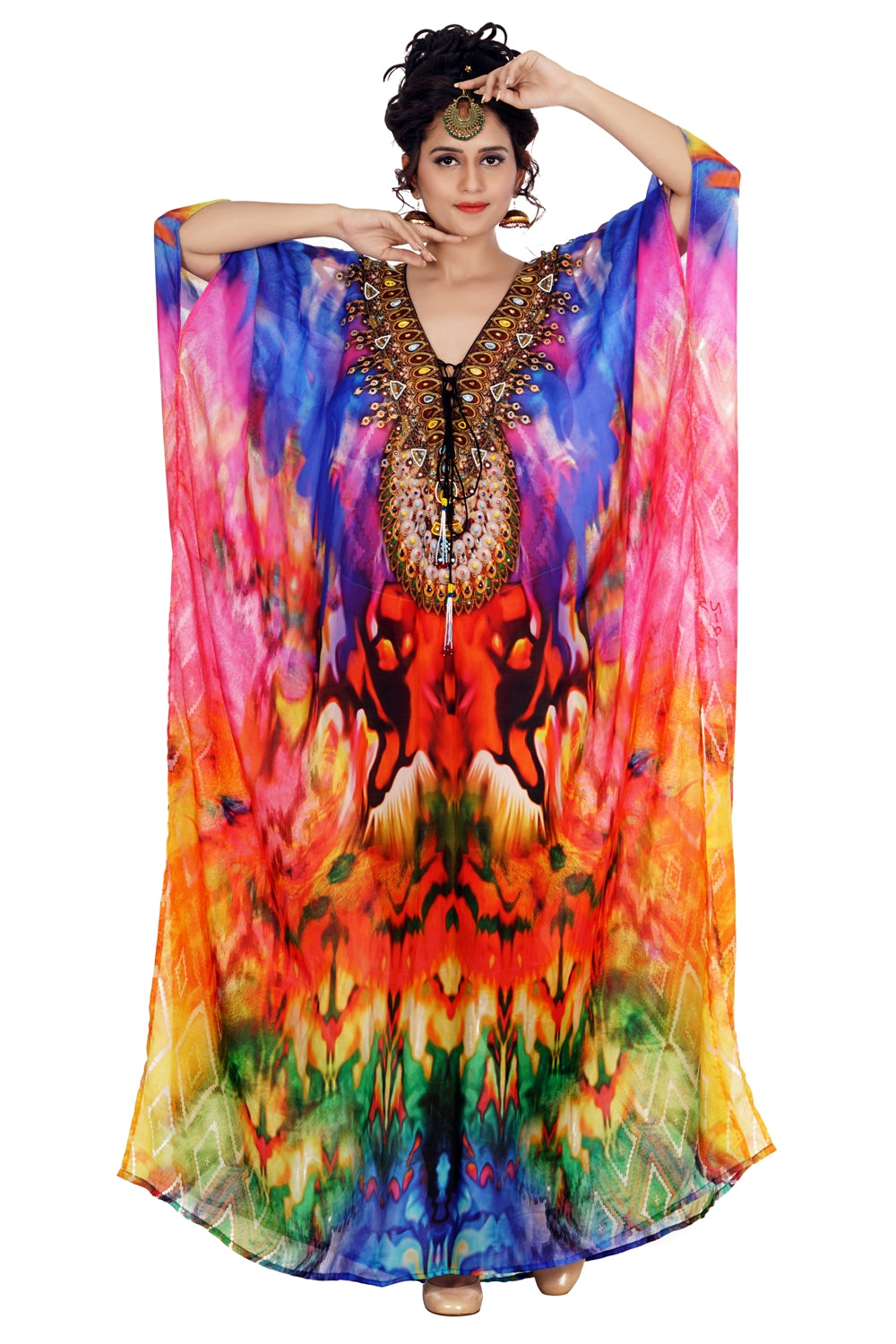 Assorted gaudy Silk Kaftan styled with Laced Deep Neckline and Ornamental touch - Silk kaftan