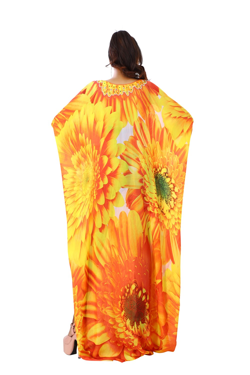 Floral Beauty in an Abstract Patterned Long Silk Kaftan glorified with Sunflower Print Luxe beach kaftan - Silk kaftan