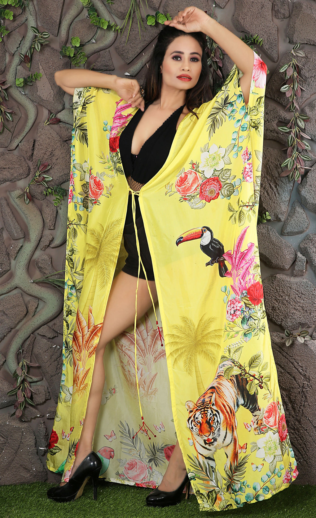 Beach Kimono Cover-up with Animal floral print and belt to tighten