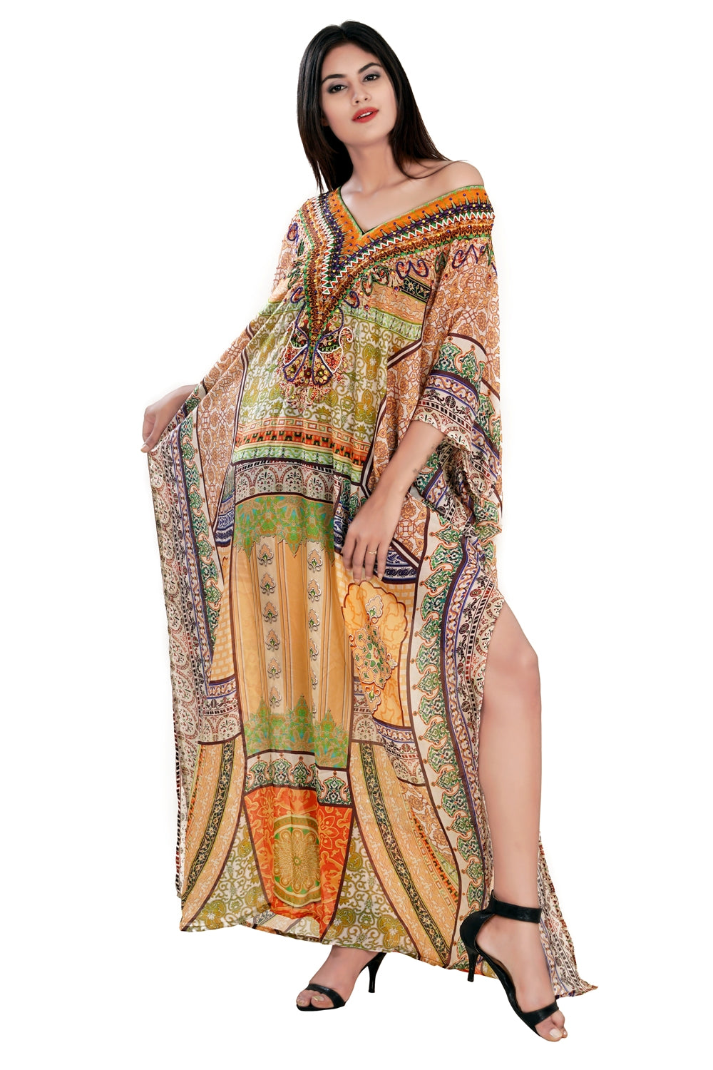 Vintage Gallivant Bohemian Print Maxi Style Silk Kaftan to warm breeze and summer sunsets vacation beach outfits - Silk kaftan