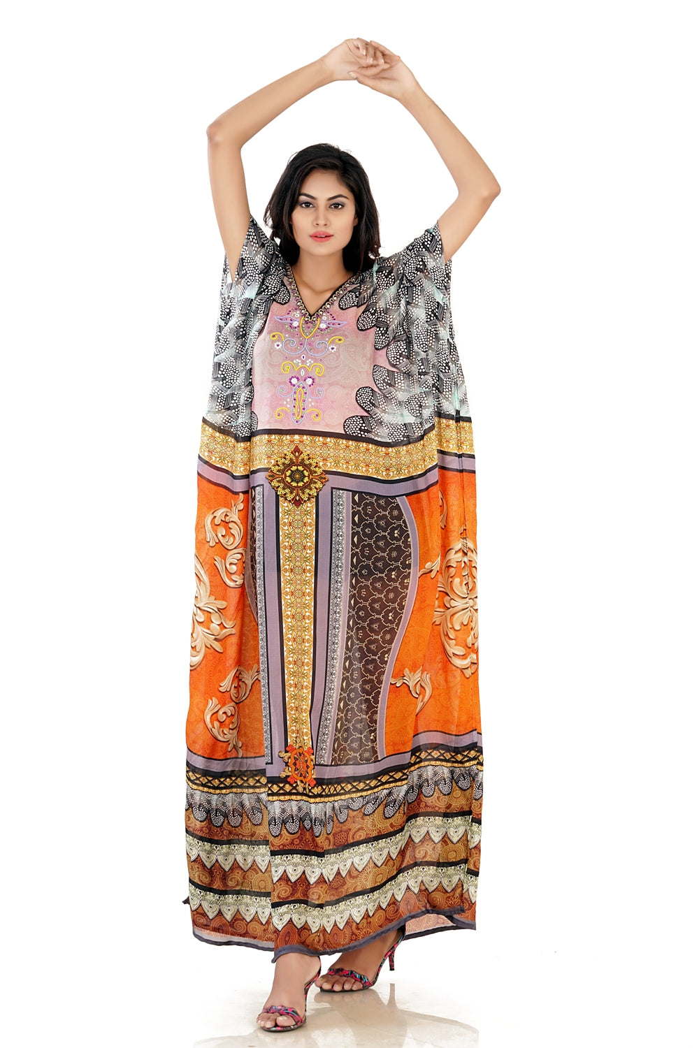 New Style Bold Feathery Silk Kaftan with bottom panel print and split ends vacation beach outfits - Silk kaftan