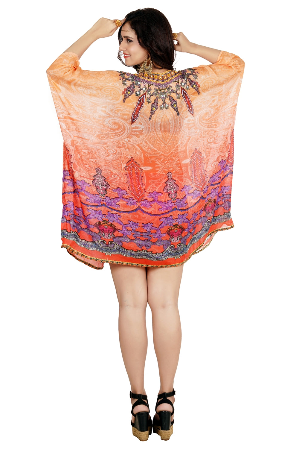 Enthralled Tribal approach Silk Kaftan of short length amiable and fashion stunned - Silk kaftan
