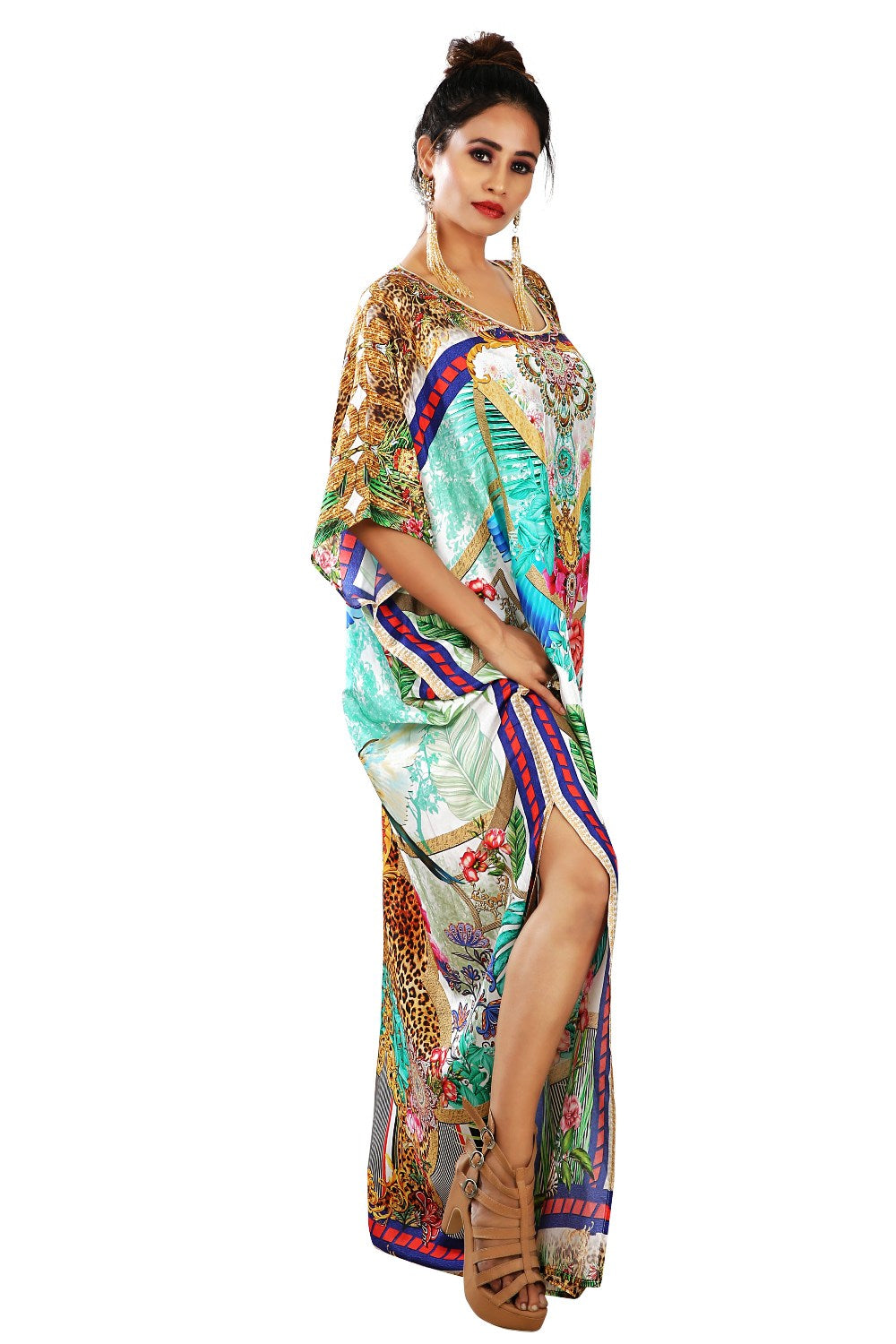 Stylish animal print kaftan Beach wear silk kaftan