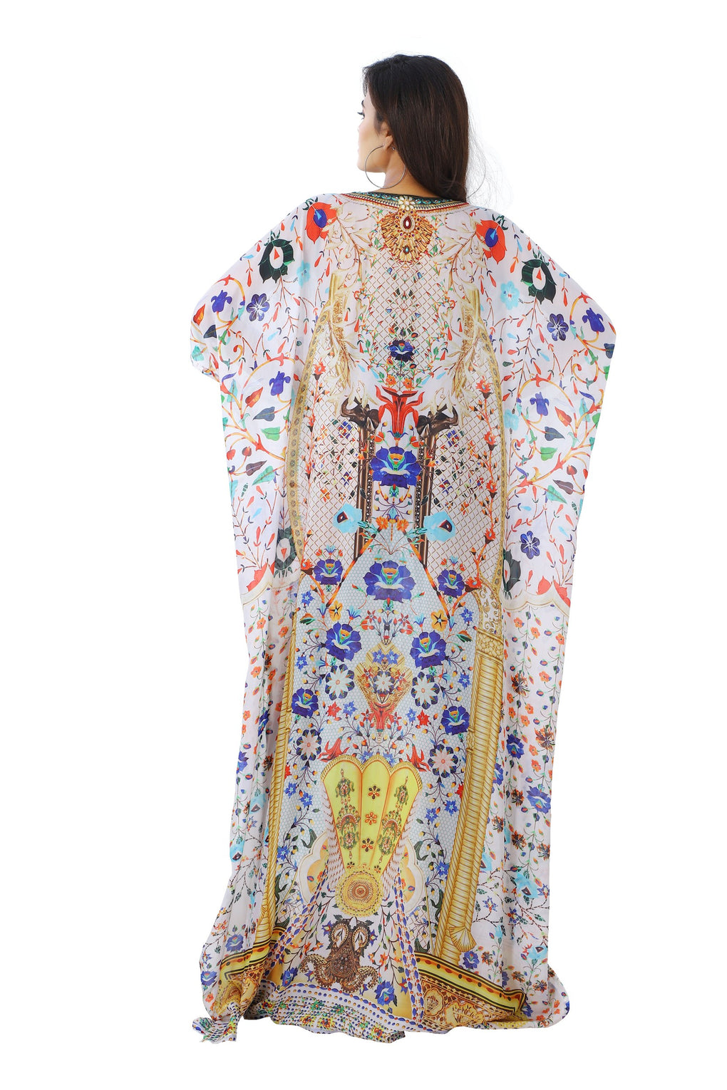 Compelling flowers decorative Geometric Patterns on Silk Kaftan with Kimono Sleeves - Silk kaftan