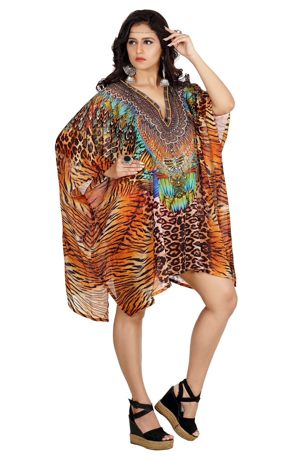 Fascinated Cheetah printed Short Silk Kaftan decked with unblemished beads and Feathers - Silk kaftan
