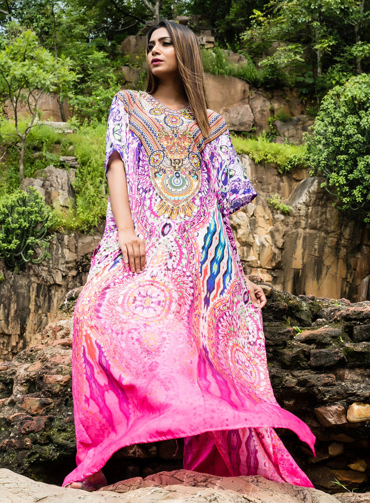 Timeless Vintage Silk Kaftan accessorized with beaded neckline - Silk kaftan