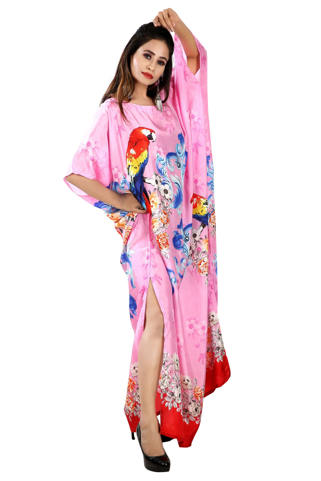 Beach cover up Bird Printed boat neck amazing caftan silk dress