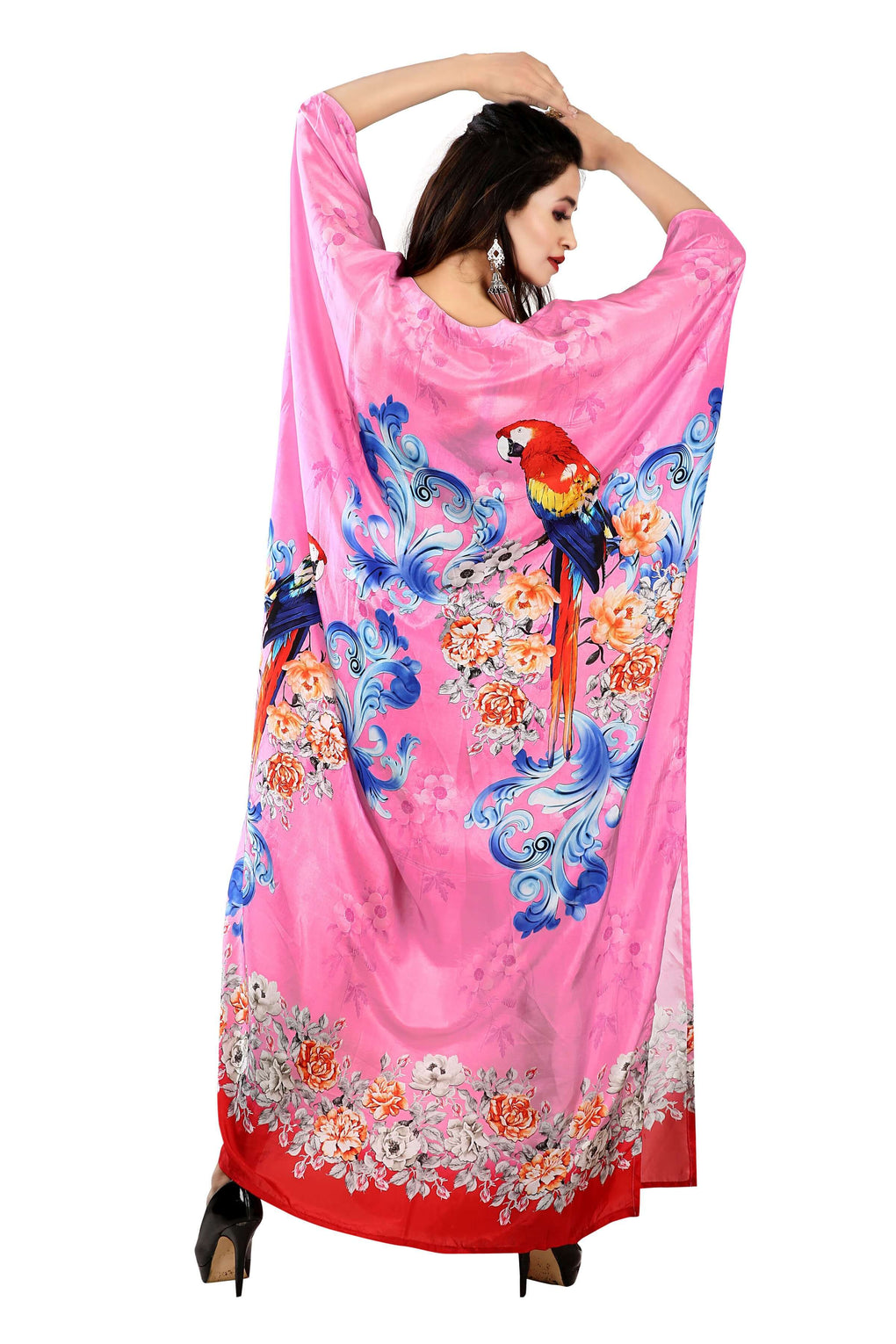 Beach cover up Bird Printed boat neck amazing caftan