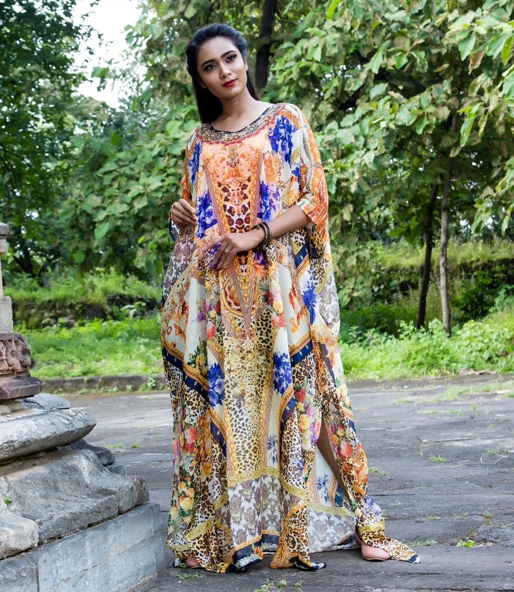 Flowers and Animal Skin Print Silk Kaftan express the nature love with its beauty - Silk kaftan
