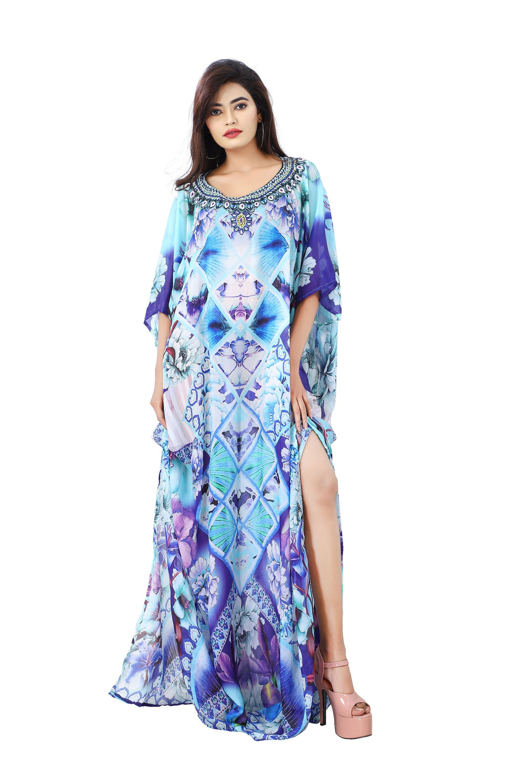 Pungent Blue Orchid Flowers printed Silk Kaftan pooled up with sultry blue lilies - Silk kaftan