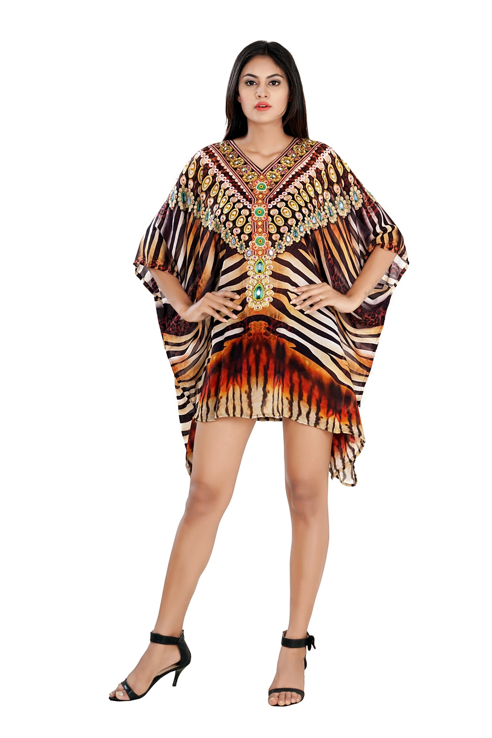Silk Kaftan with heavily Embellishment short unique kaftan dress Beach Wear Cover Up - Silk kaftan