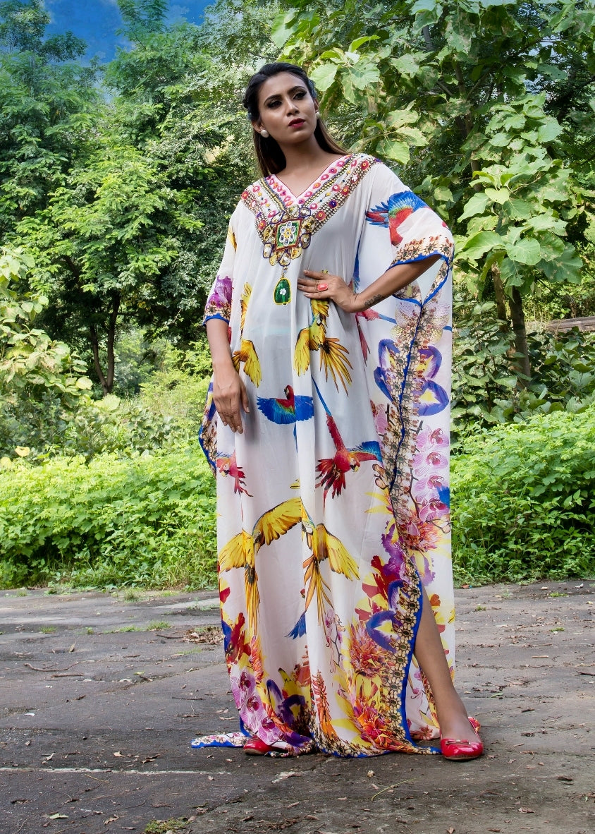 Get along this magnificently festooned Full length Silk Kaftan with Bird Print and embellishment - Silk kaftan