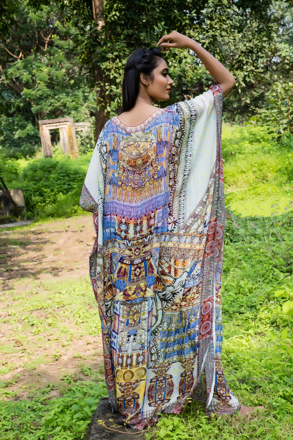 Stay free with African freedom print over Maxi long Kaftan gown with Beauty and fashion... - Silk kaftan