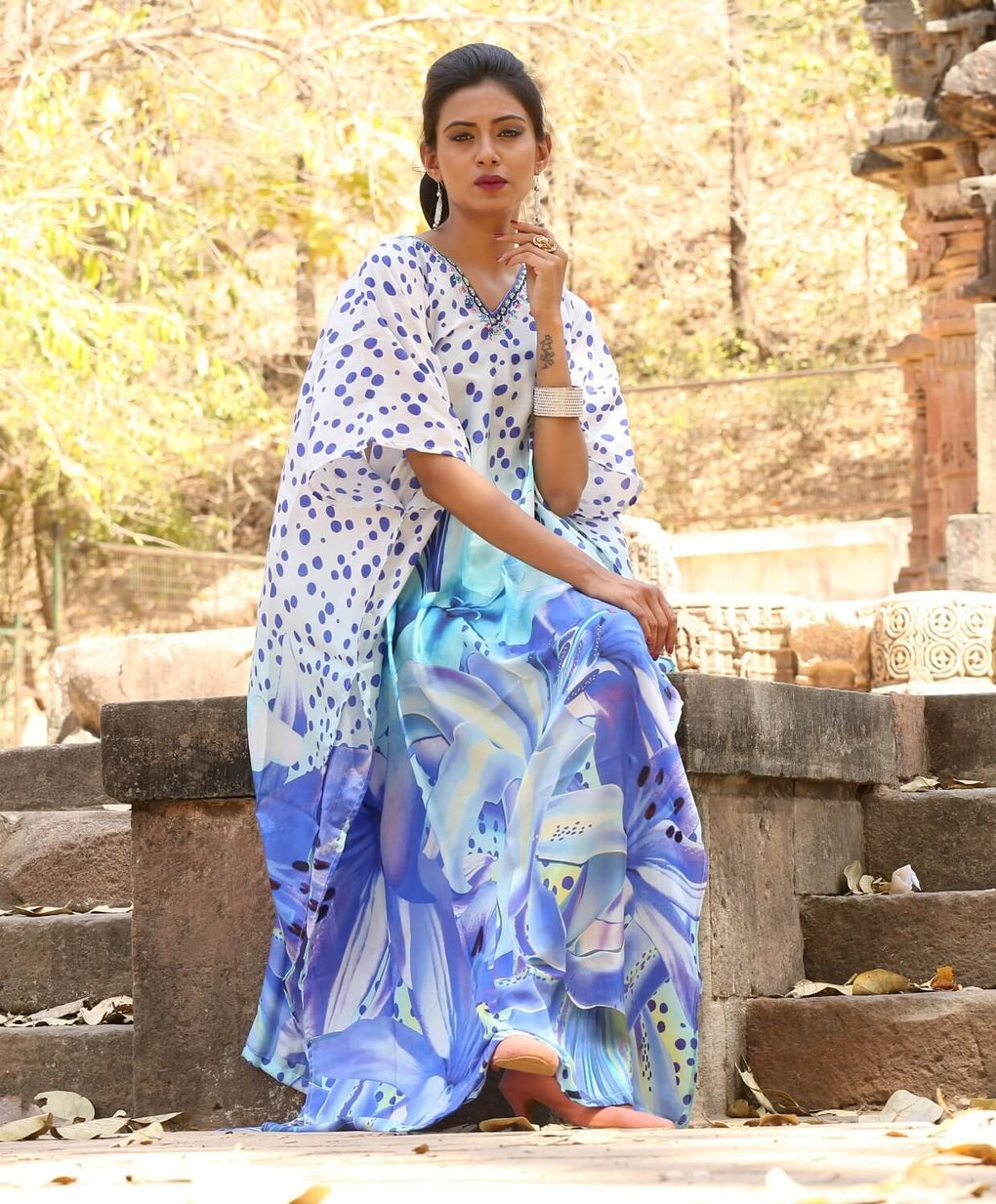 Adorable Abstract floral print Maxi long Kaftan Dress with lovely blue coloured dots and embellishments - Silk kaftan