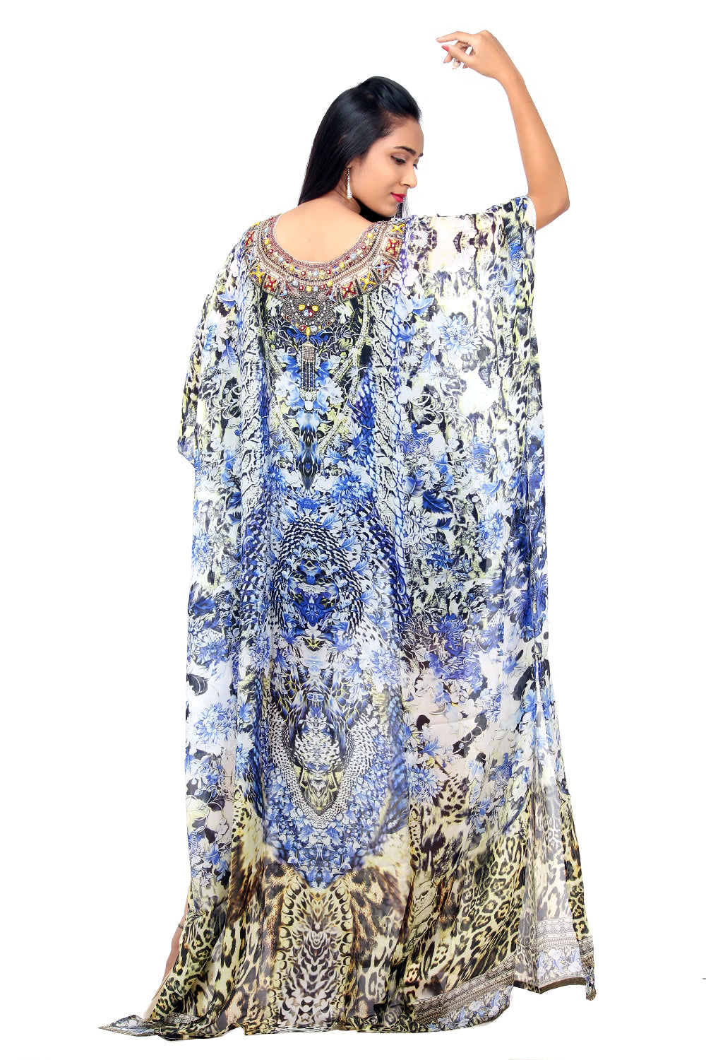 Fusion of Animal and Porcelain print Silk Party Wear Kaftan with flowers and feathers unique designer piece Beach Cover - Silk kaftan