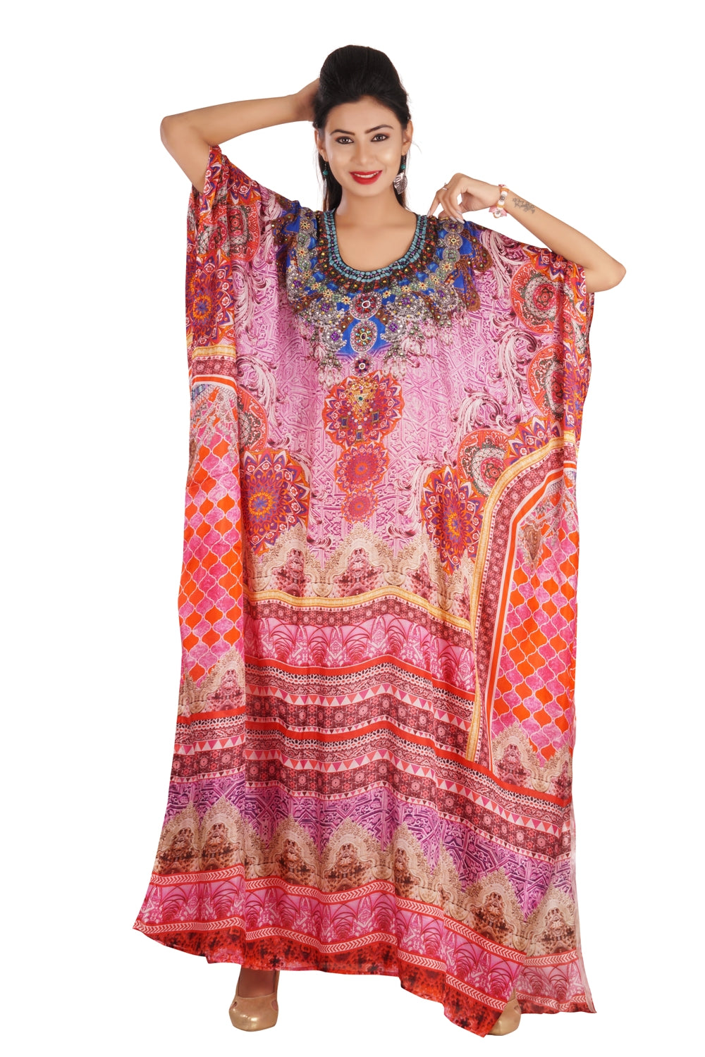 Graceful Silk Kaftan Maxi Dress with Stunning Beaded Neckline luxe beach kaftan - Silk kaftan