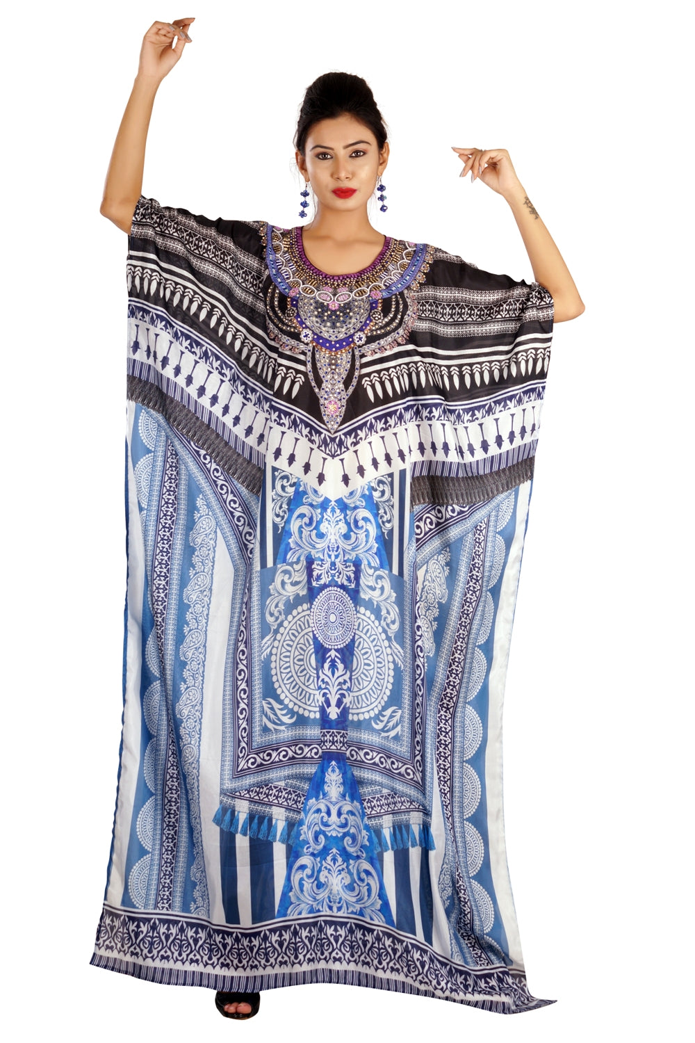 Exclusive Provincial Print Over Maxi long Silk Kaftan Dress with attractive splits - Silk kaftan