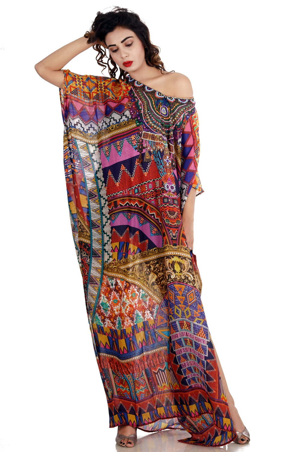 Plus size resort wear silk caftan tunic silk kaftan tops caftan silk beach wear dress jewelled kaftan - Silk kaftan