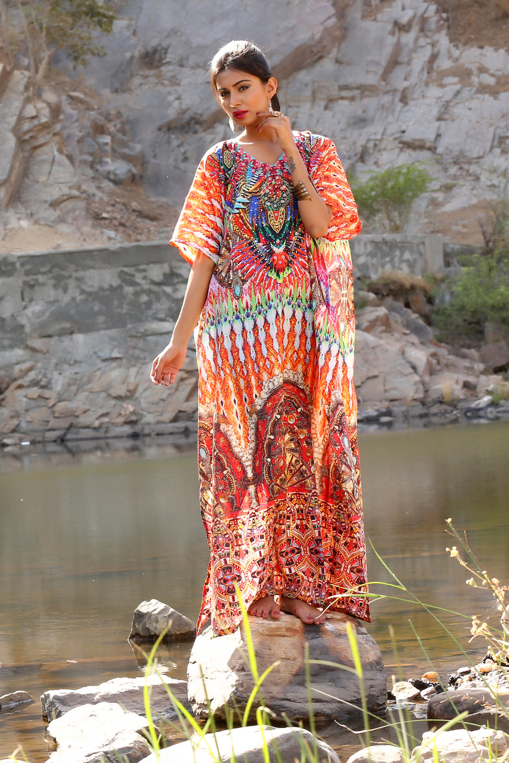 African tribal print with multicolored embellishments and beaded neck print over Long Silk Kaftan gown - Silk kaftan