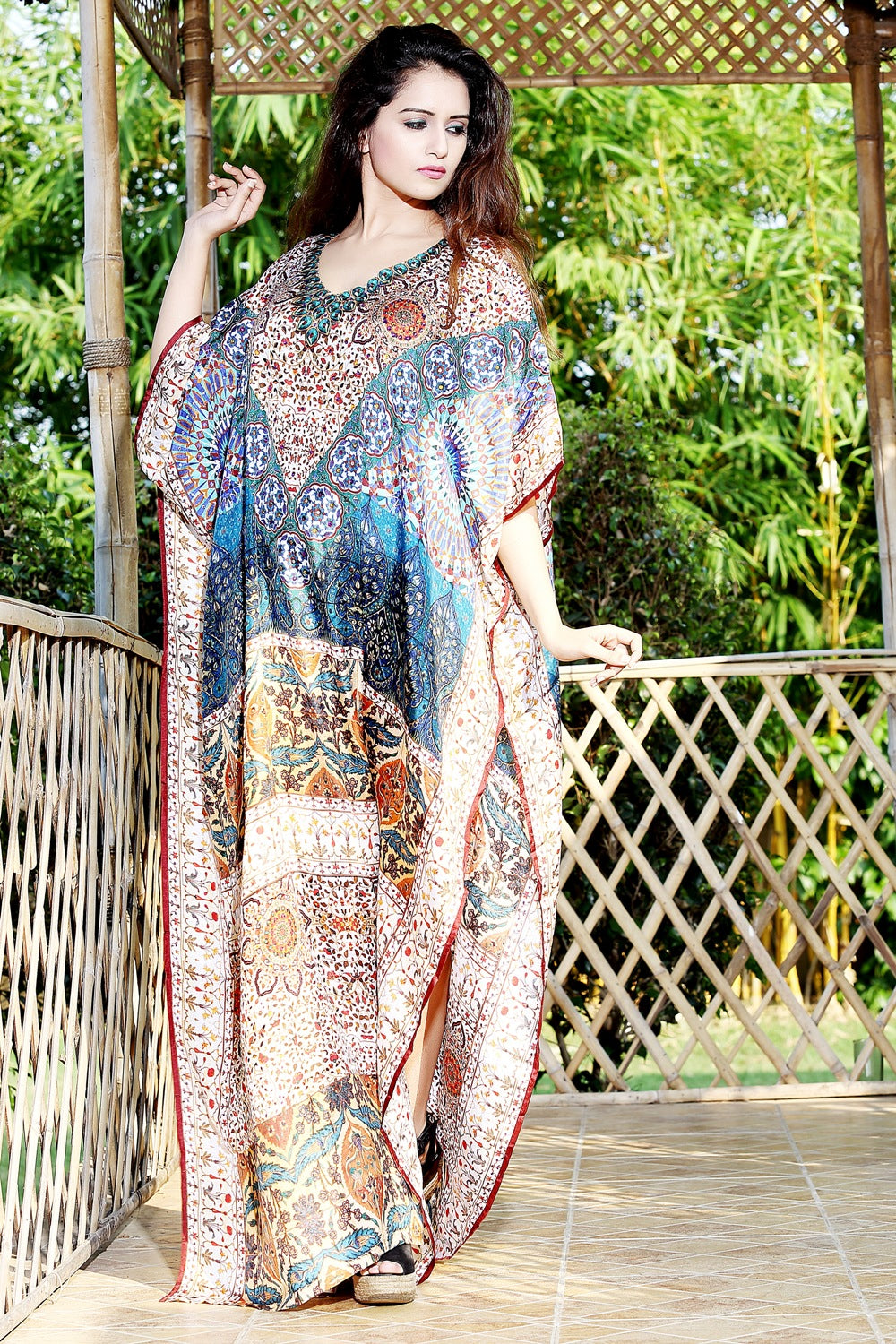 Kalamkari Pattern Silk Kaftan Cover-up Dress with Intricate Crystal Work near neck Cruise wear kaftan - Silk kaftan