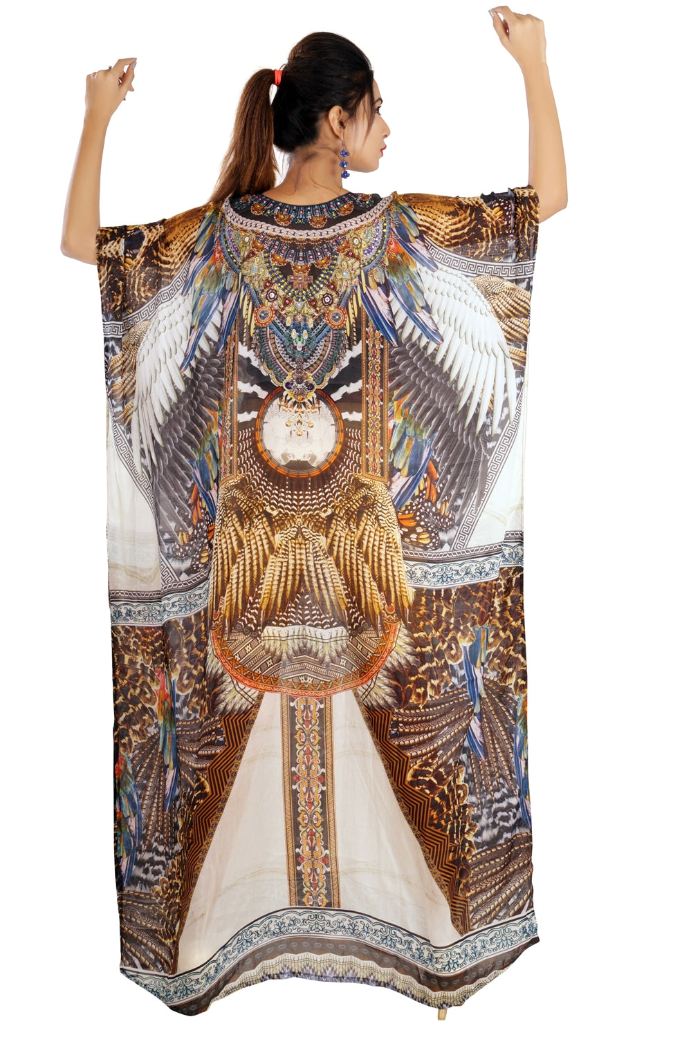 Something Exotic and elegant Tribal print over Maxi long Silk Kaftan Boho Style - Silk kaftan