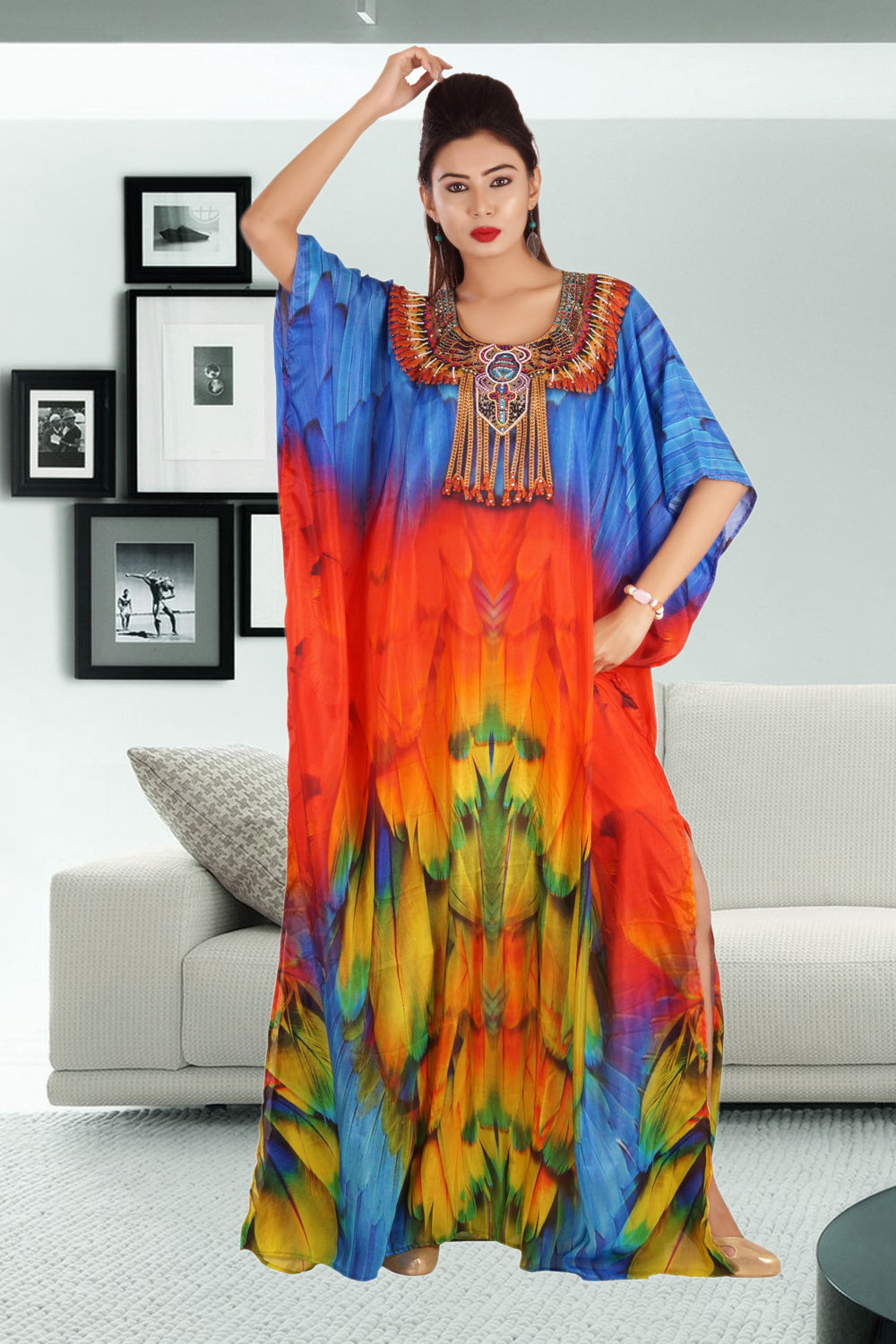 Radiant Art of Maccaw Parrot Bird Print on Silk Kaftan with Unique Drawstring print - Silk kaftan