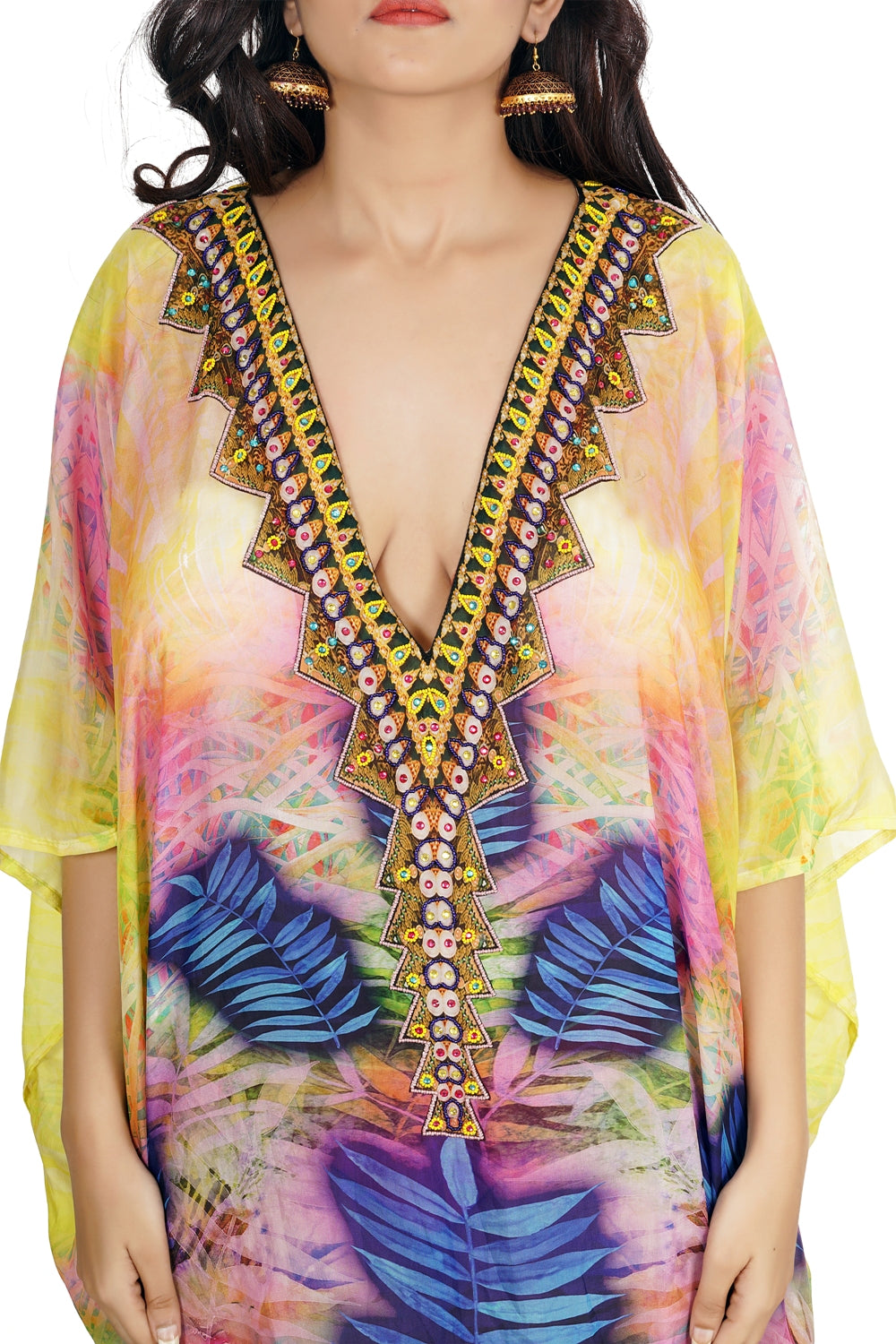 Silk Kaftan deep neck heavily Embellishment short unique kaftan dress Womens Kaftan Dress 376 - Silk kaftan