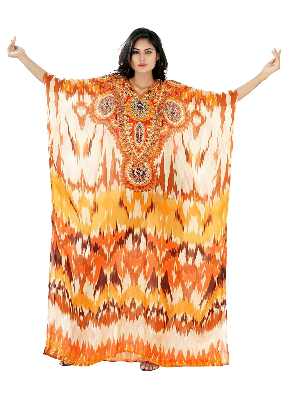 Pool party kaftan Bright and elegantly embellished full-length orange colored kaftan from Silk Kaftans - Silk kaftan