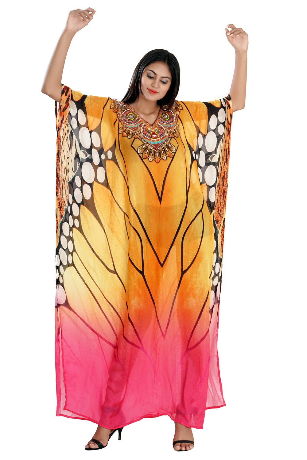 Tiger Print Beach party caftan designer silk kaftan cruise wear kaftan luxury resort wear kaftan - Silk kaftan