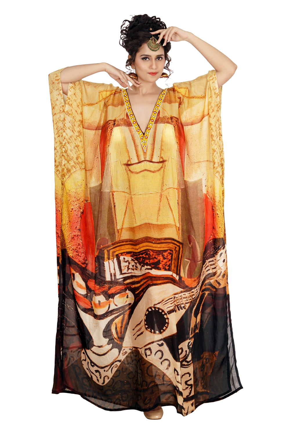 Want to party tonight?? Here's the perfect choice…Eye-catching Silk Kaftan with Picasso print Deep V neck vacation beach kaftan - Silk kaftan