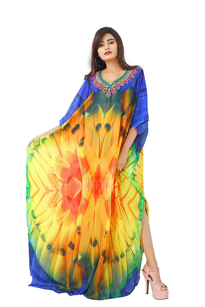 Style up with Feathery Silk Kaftan toned beaded necklace look and graceful cuts - Silk kaftan