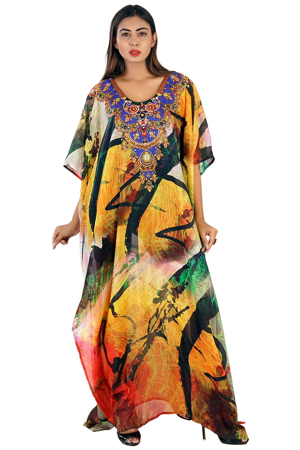 Silk kaftan online one piece dress on sale/jeweled/hand made/formal/ caftan beach cover up hot look luxuries Resort yacht party kaftan 317 - Silk kaftan