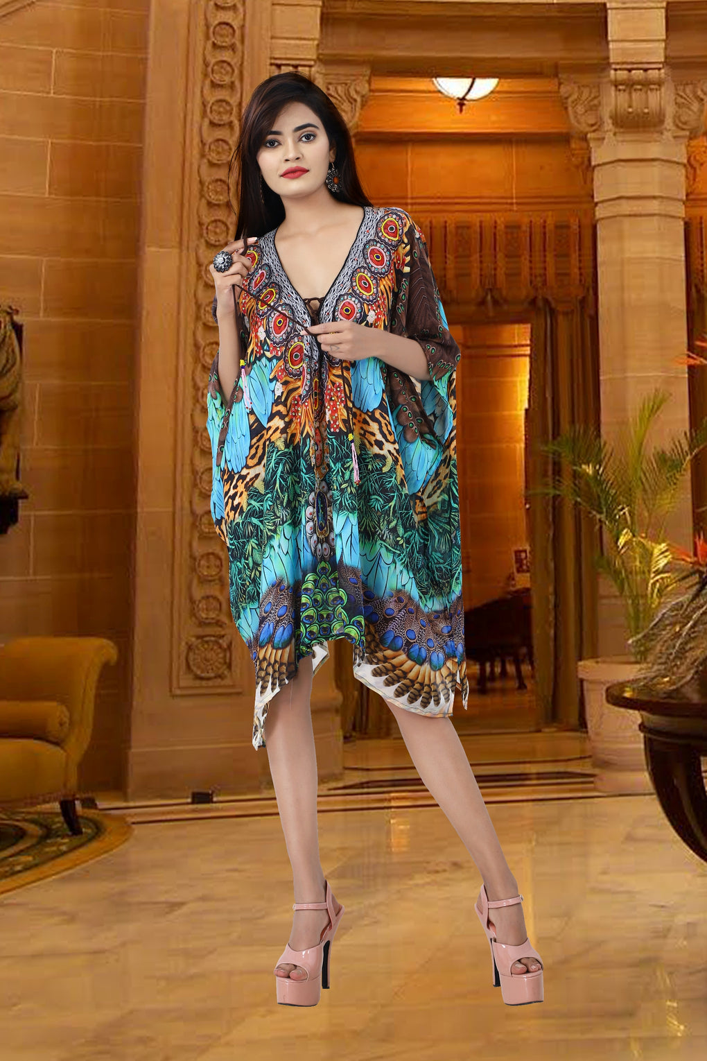Lace up Silk kaftan plus size silk caftan for women kaftan for sale pure silk kaftan light weight silk caftan tunic - Silk kaftan