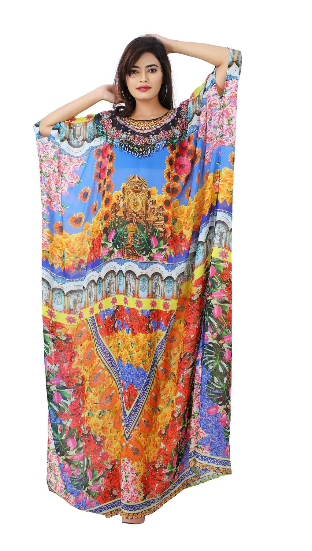 Backyard of fragrant flowers on Silk maxi long kaftan ornamented with beads