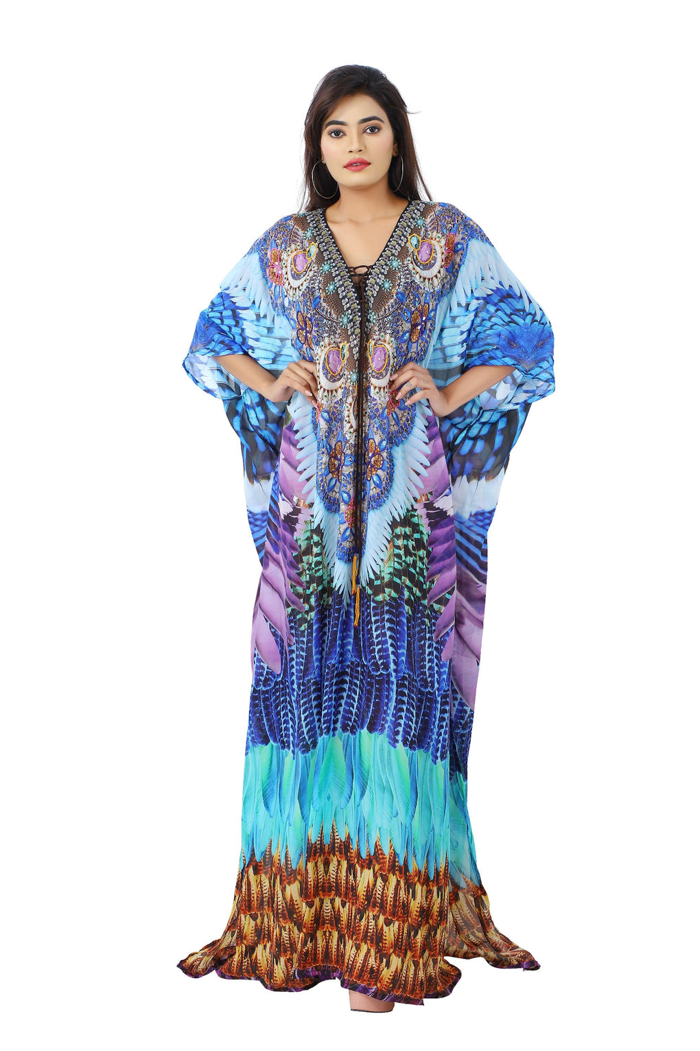 Beach Style Kaftan Cover with Combination of Sea Coral Print and laced up V Neck - Silk kaftan