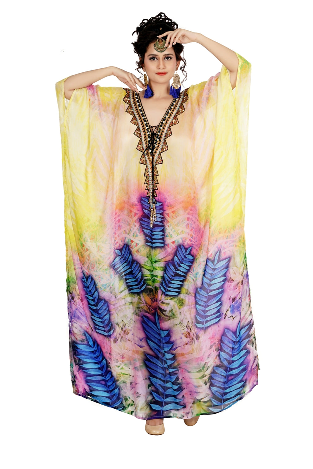 vacation beach outfits Deep neck with triangular lace up sunshine effect with blue and lavender aesthetic silk kaftan - Silk kaftan
