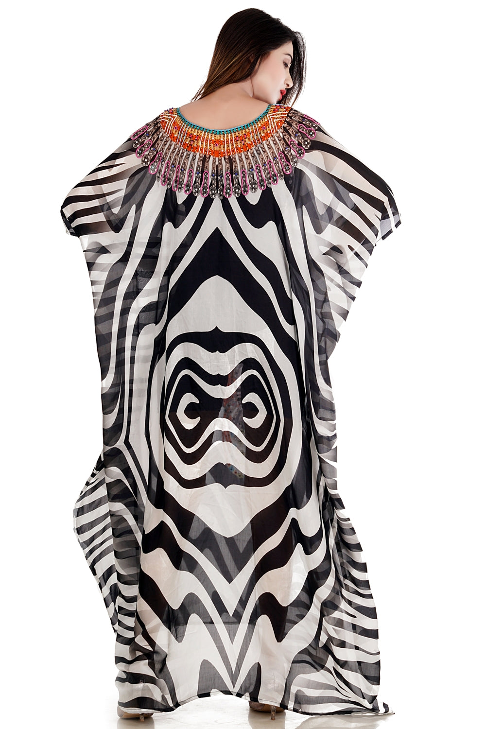Drape gorgeous silk kaftan with Zebra Print and laces Up to look distinctive Beach Wear - Silk kaftan