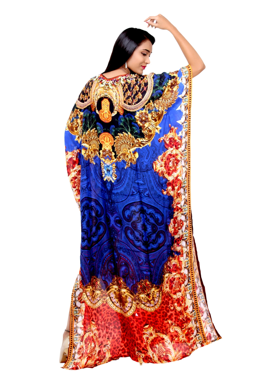 Royal Queen cover up ladies classic silk kaftan night party gown with attractive baroque print in V-neck - Silk kaftan