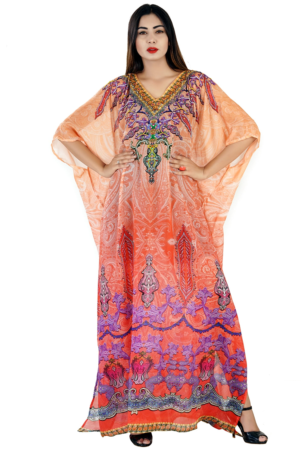 Enthralled Tribal approach Silk Kaftan of Full length amiable and fashion stunned vacation beach outfits - Silk kaftan