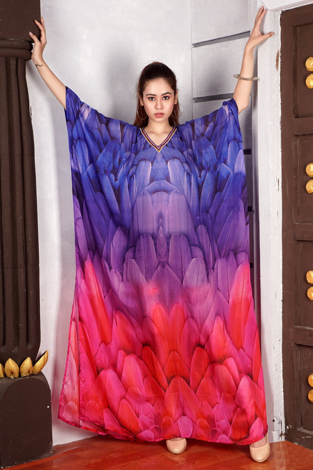 Attractive Bird Feathers print featuring with fascinating hand craft Silk Kaftan with embroidered V Neck kaftan - Silk kaftan