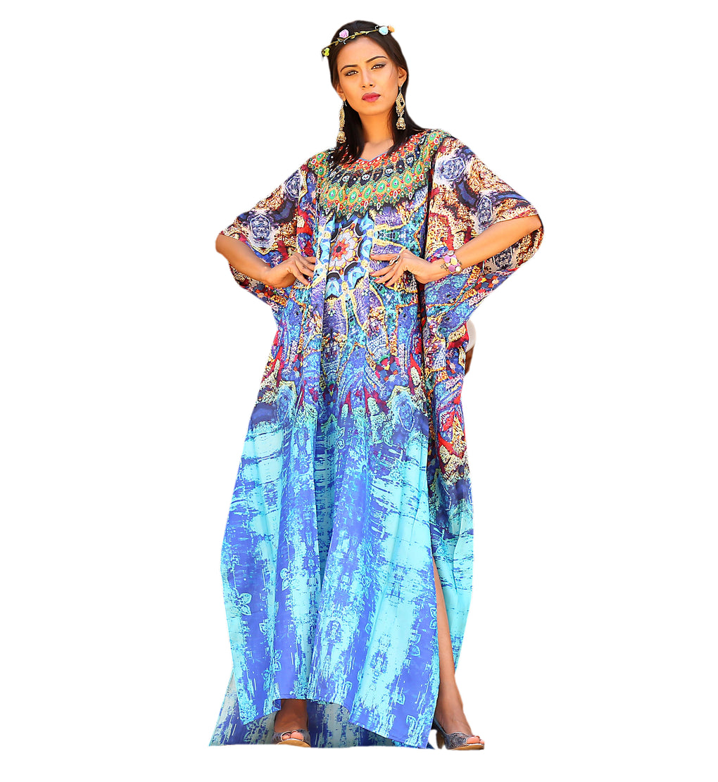 Vibrant Python Print Silk Kaftan Dress with its patches and necklace crystals - Silk kaftan