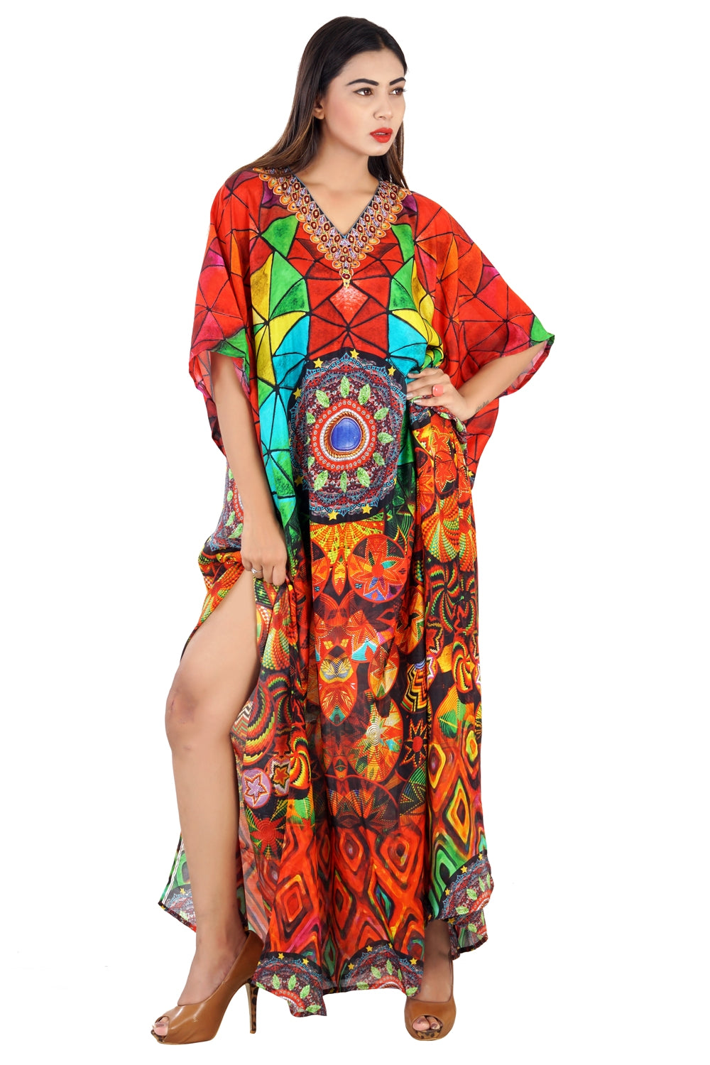 Feel the thrift with Baleares Print of Long Silk Kaftan Maxi Style with Cuts at the Side - Silk kaftan