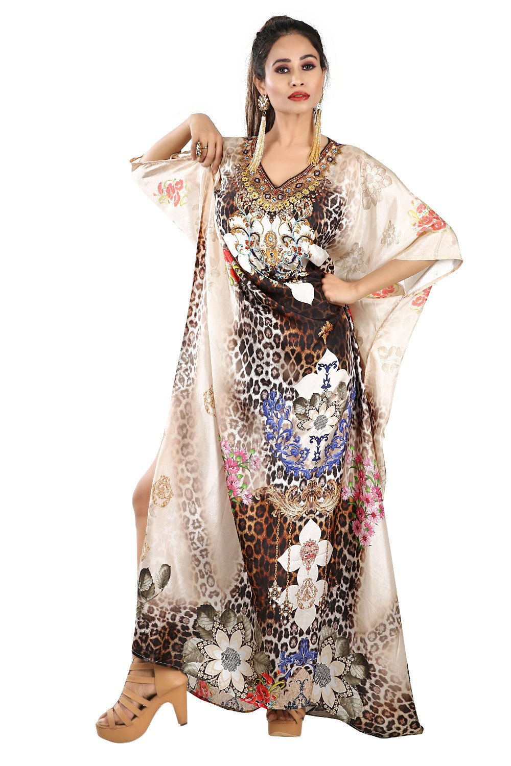 Plus Size Vacation Kaftan Long Designer Silk Kaftan