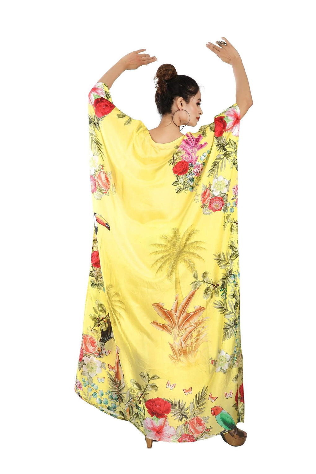 Boat neck Yellow color floral and Animal Print kaftan long silk dress